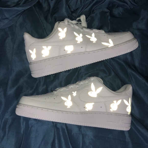 Custom Reflective PLAYBOY BUNNY Air Force 1s Boutique